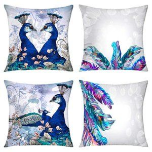 Set Of 4 Peacock Throw Pillow Case Covers